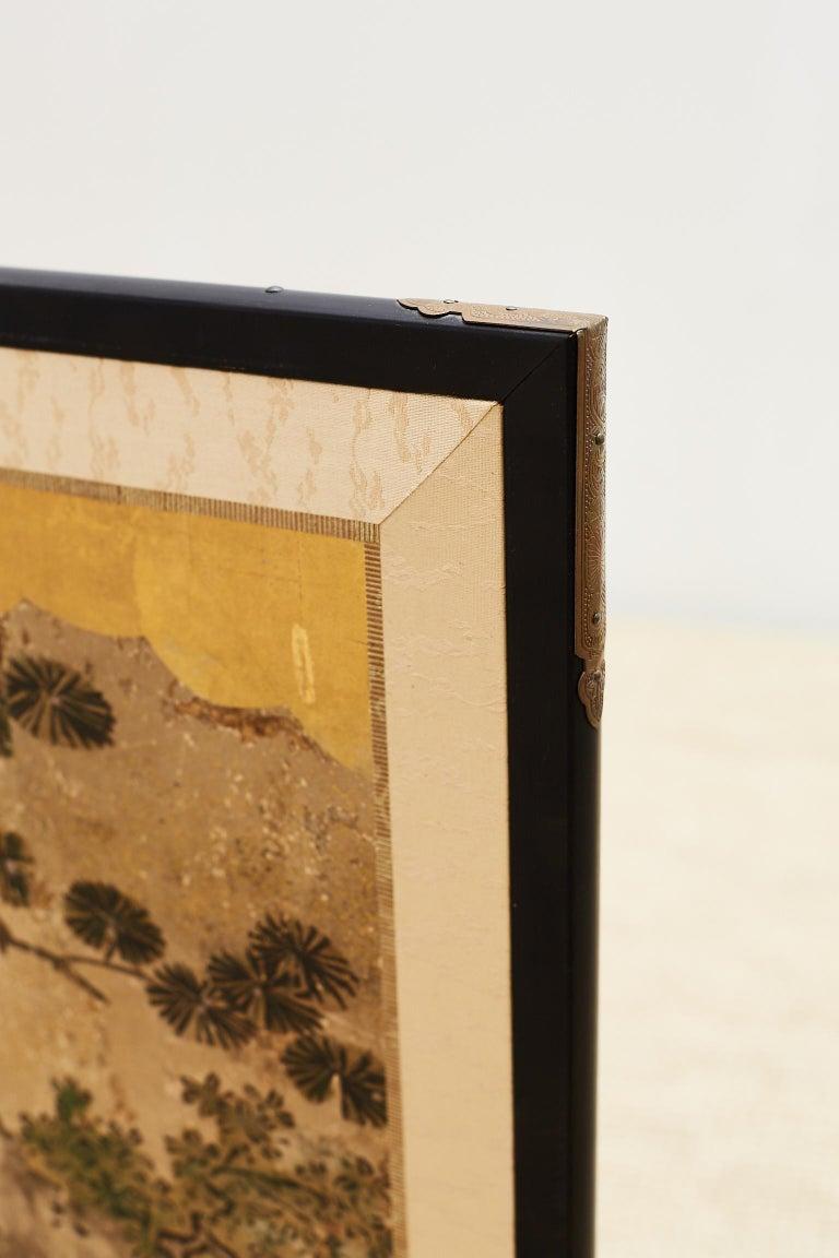 Ebonized Japanese Two-Panel Kano School Meiji Period Screen For Sale