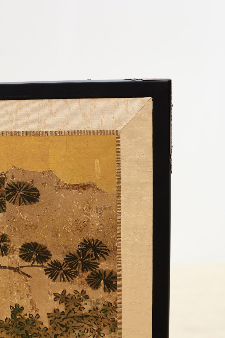 Japanese Two-Panel Kano School Meiji Period Screen In Good Condition For Sale In Rio Vista, CA