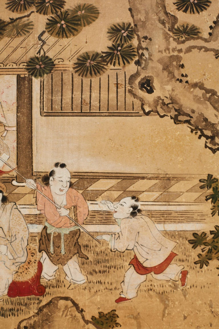 19th Century Japanese Two-Panel Kano School Meiji Period Screen For Sale