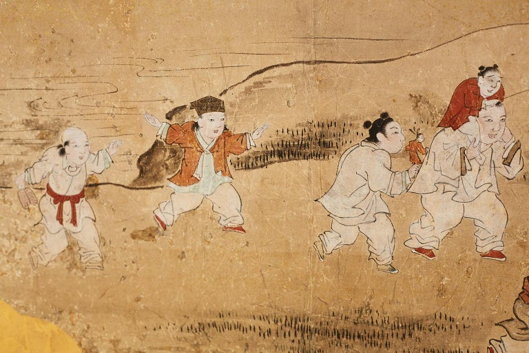 Wood Japanese Two-Panel Kano School Meiji Period Screen For Sale