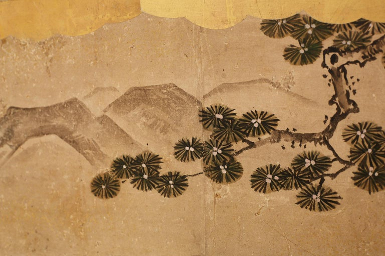 Japanese Two-Panel Kano School Meiji Period Screen For Sale 2