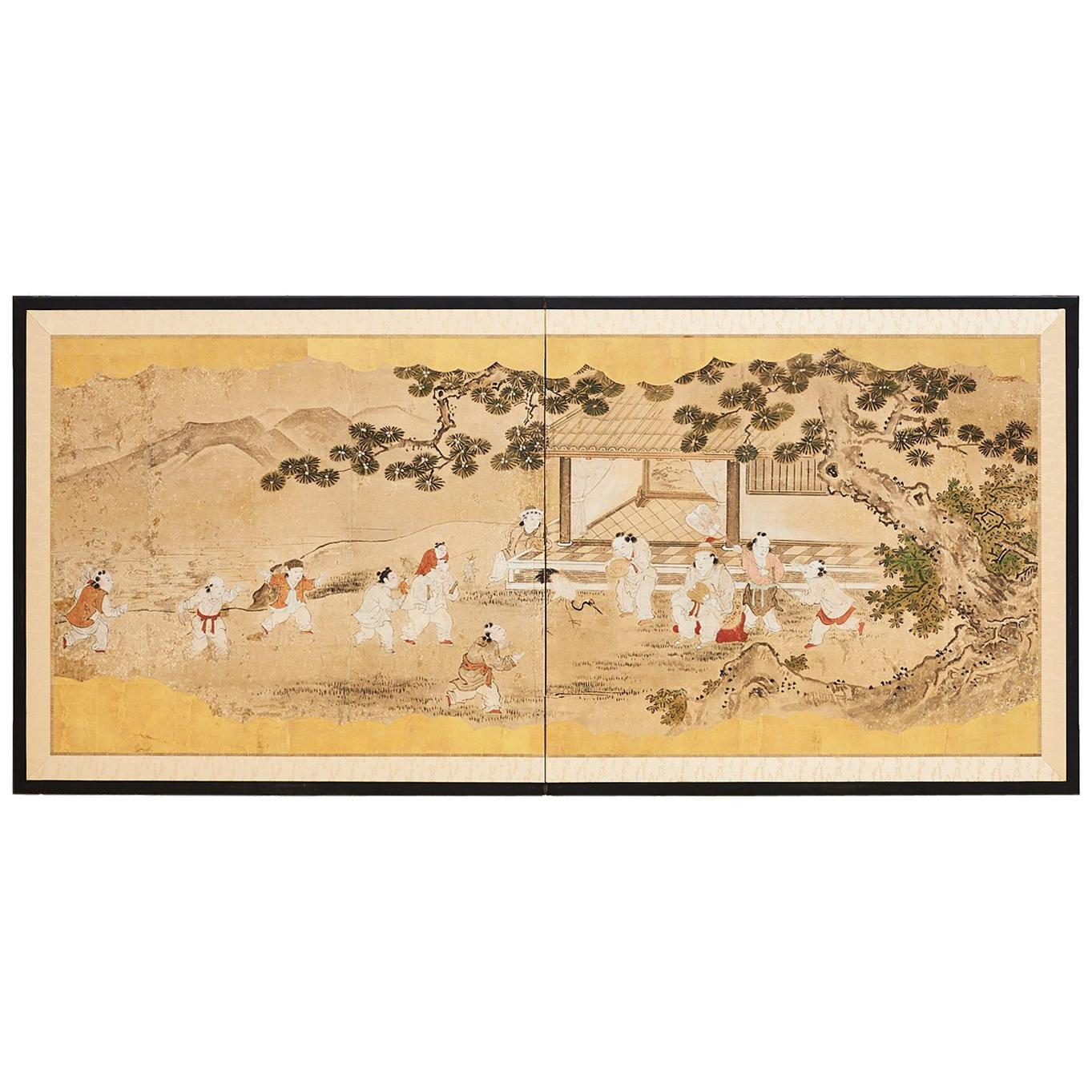 Japanese Two-Panel Kano School Meiji Period Screen