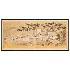 Japanese Two-Panel Kano School Meiji Period Screen