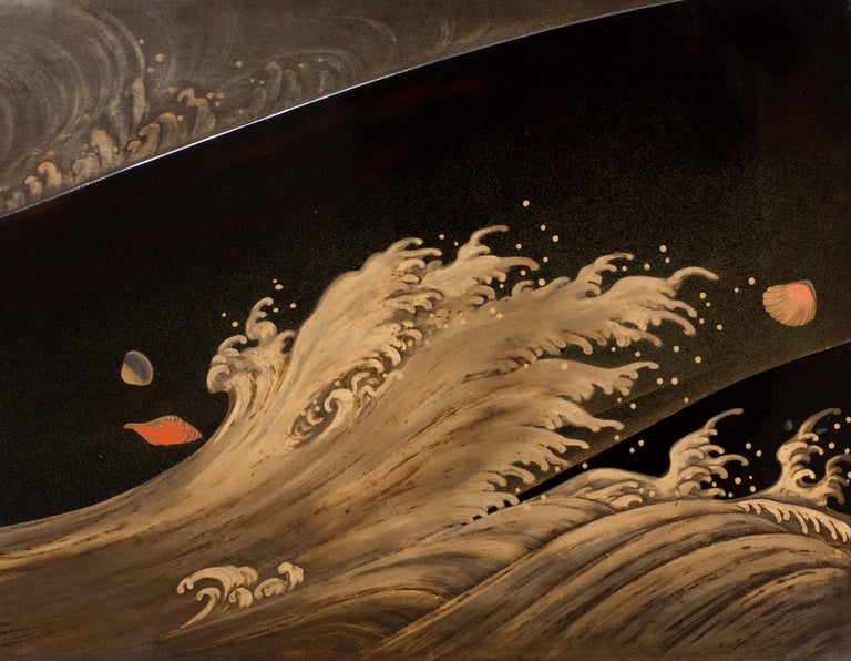 Japanese Two Panel Lacquer Screen, Waves on a Shoreline In Good Condition For Sale In Hudson, NY