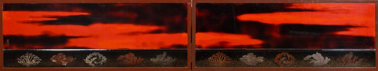 Japanese Two Panel Lacquer Screen, Waves on a Shoreline For Sale 1