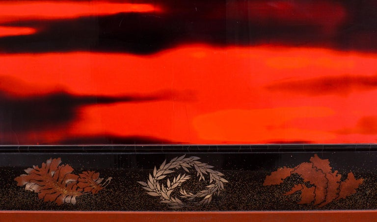 Japanese Two Panel Lacquer Screen, Waves on a Shoreline For Sale 2