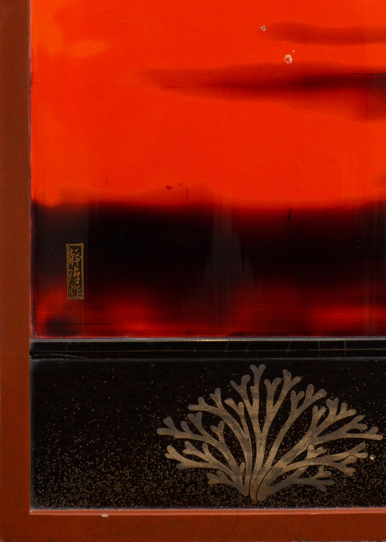 Japanese Two Panel Lacquer Screen, Waves on a Shoreline For Sale 3