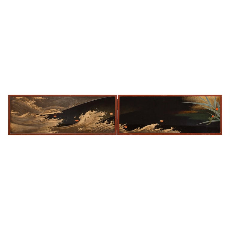 Japanese Two Panel Lacquer Screen, Waves on a Shoreline For Sale
