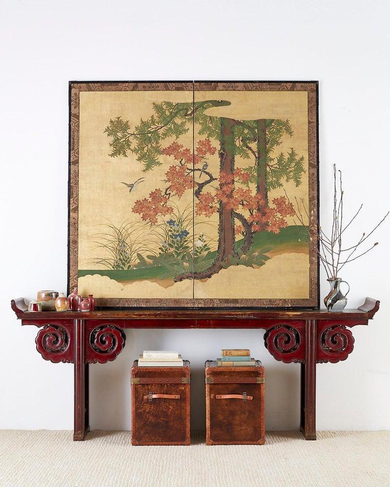 Japanese Two-Panel Meiji Screen Autumn Landscape 4