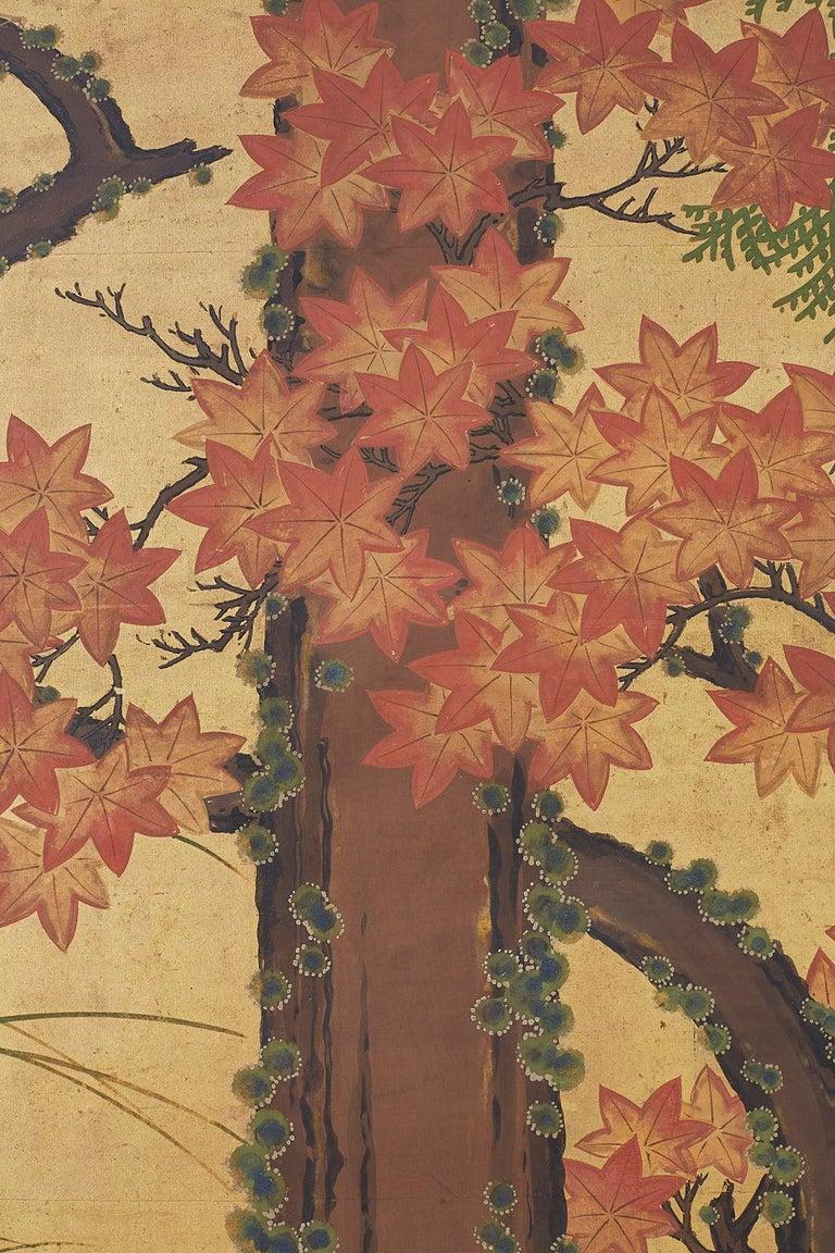 Japanese Two-Panel Meiji Screen Autumn Landscape 7