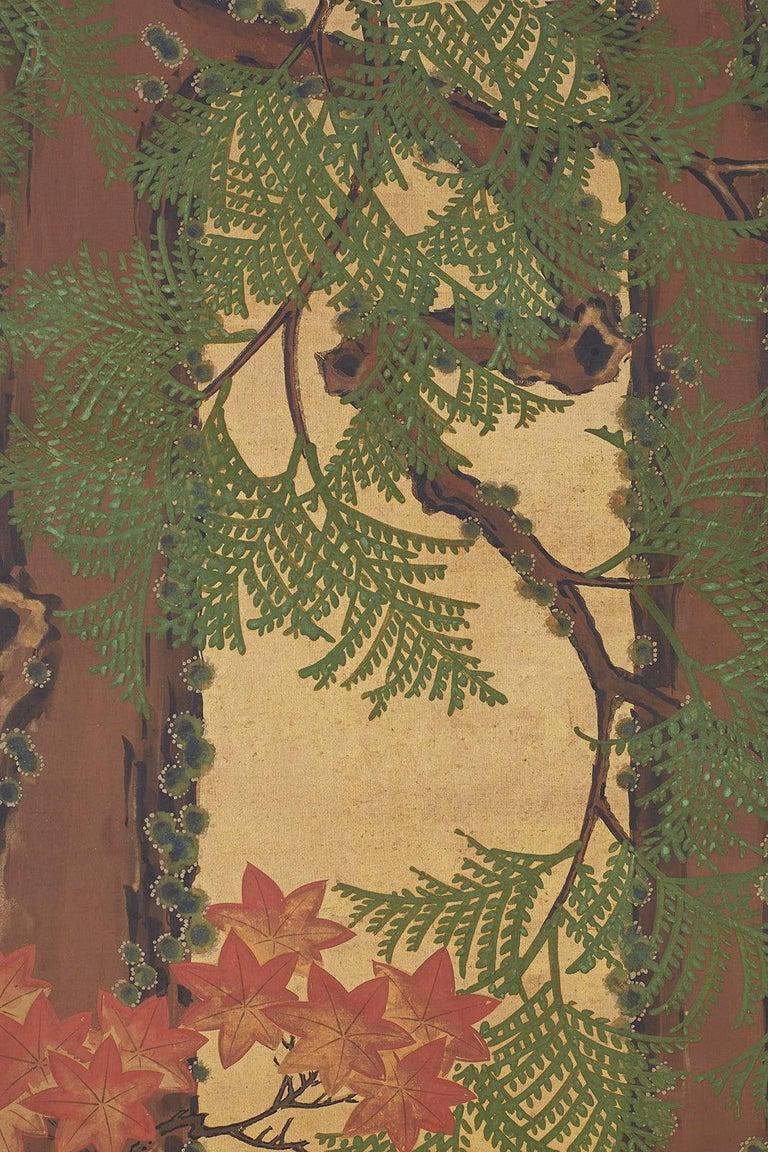 Japanese Two-Panel Meiji Screen Autumn Landscape 9