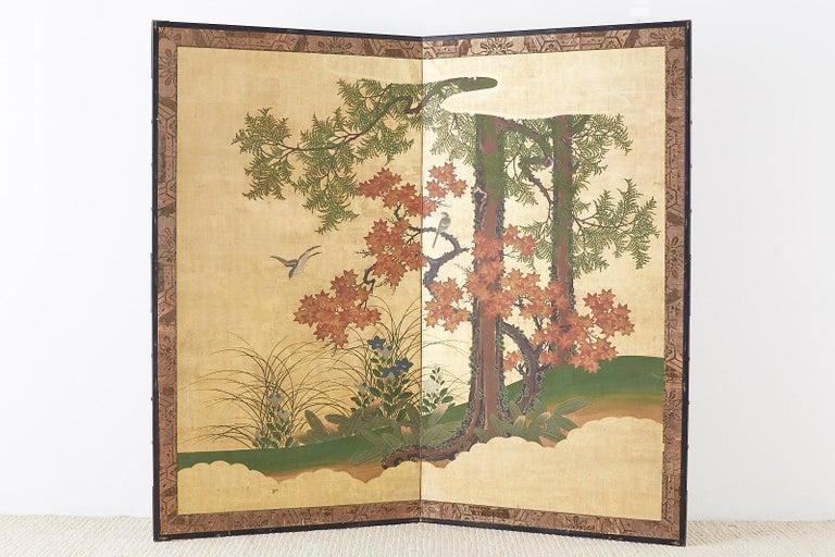 Japanese Two-Panel Meiji Screen Autumn Landscape 12