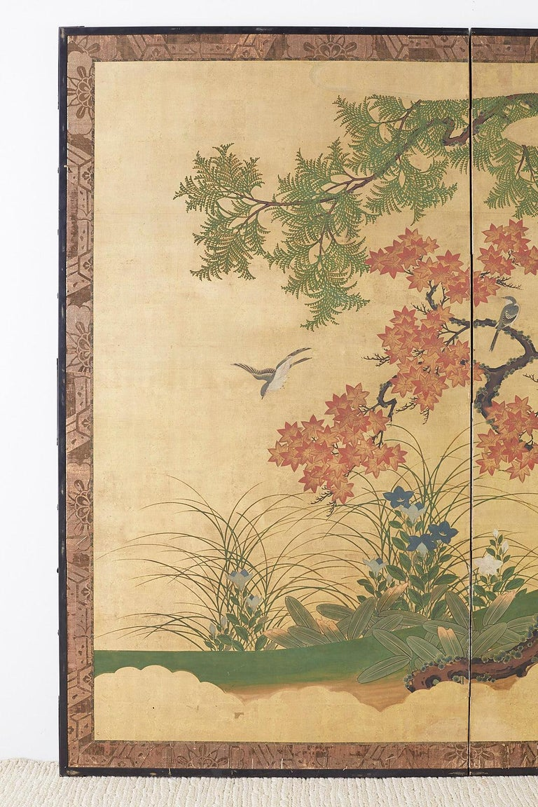 Lacquered Japanese Two-Panel Meiji Screen Autumn Landscape