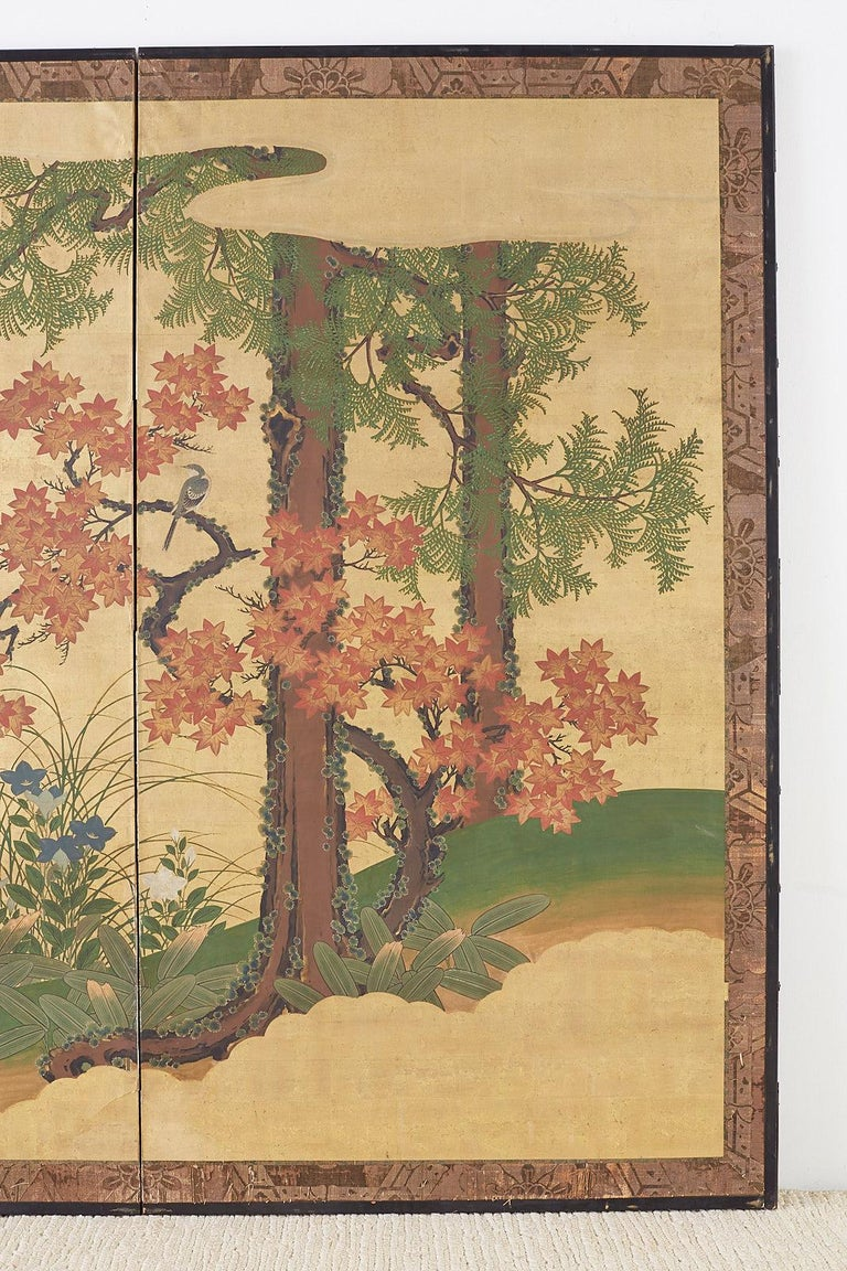 Japanese Two-Panel Meiji Screen Autumn Landscape In Good Condition In Oakland, CA