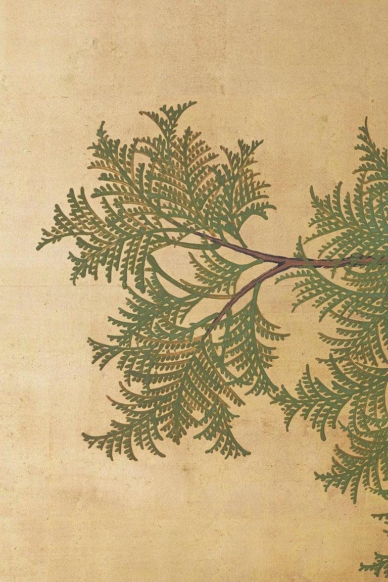 Brass Japanese Two-Panel Meiji Screen Autumn Landscape