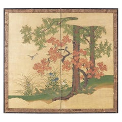 Japanese Two-Panel Meiji Screen Autumn Landscape