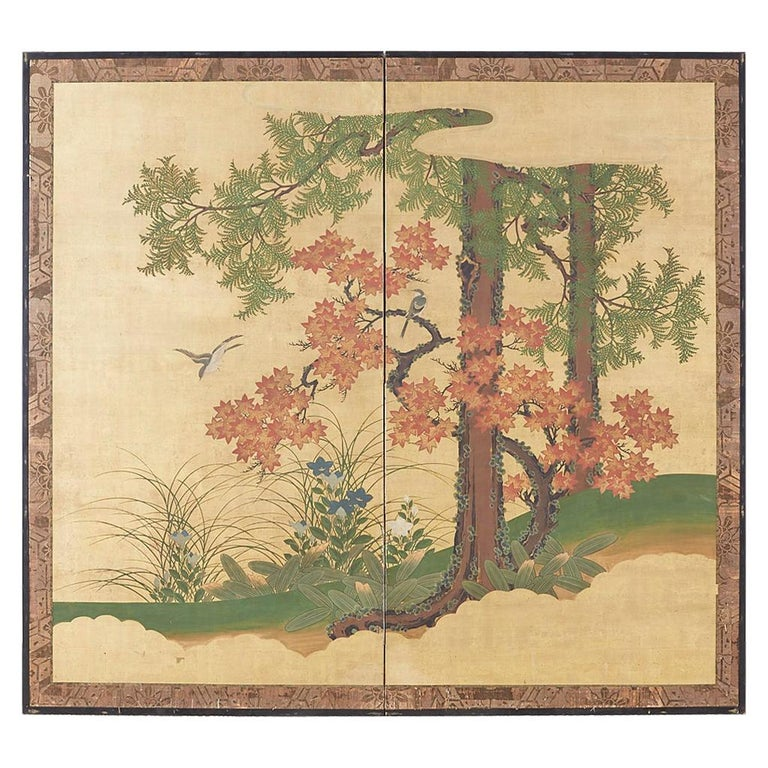 Japanese Two-Panel Meiji Screen Autumn Landscape