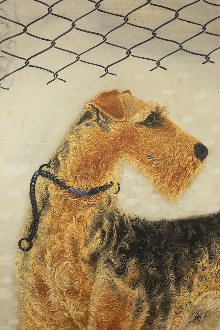 Beautifully detailed painting of an Airedale Terrier standing on a pebbled surface with a cactus and succulents. Mineral pigments on mulberry paper with a mica finish border. Signature reads: Yuta-yu.