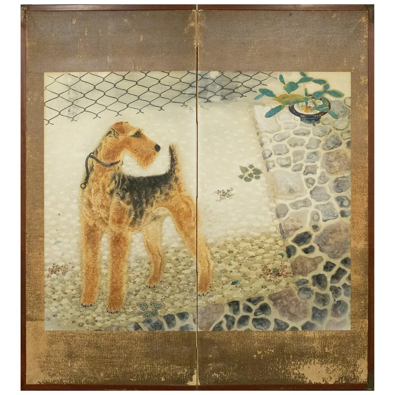 Japanese Two-Panel Screen, Airedale Terrier For Sale