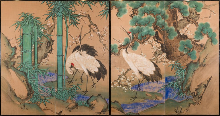 Japanese Two Panel Screen Amorous Cranes and Turtles For Sale 8