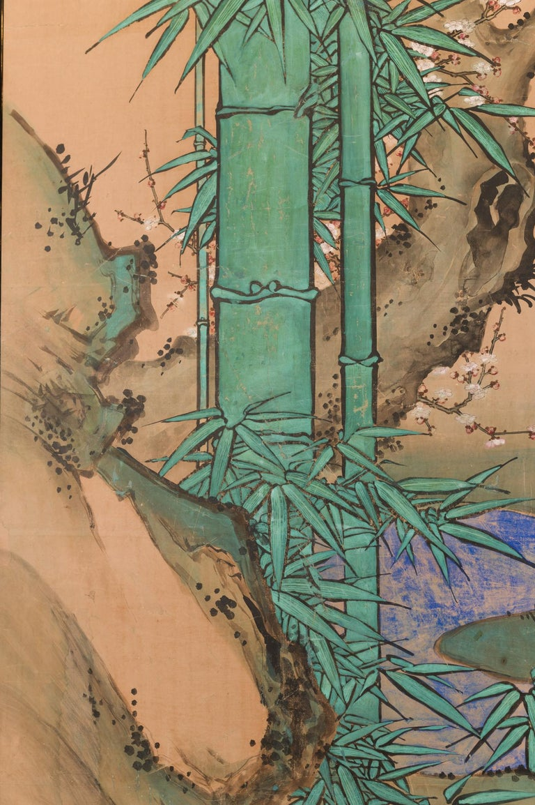 Edo Japanese Two Panel Screen Amorous Cranes and Turtles For Sale