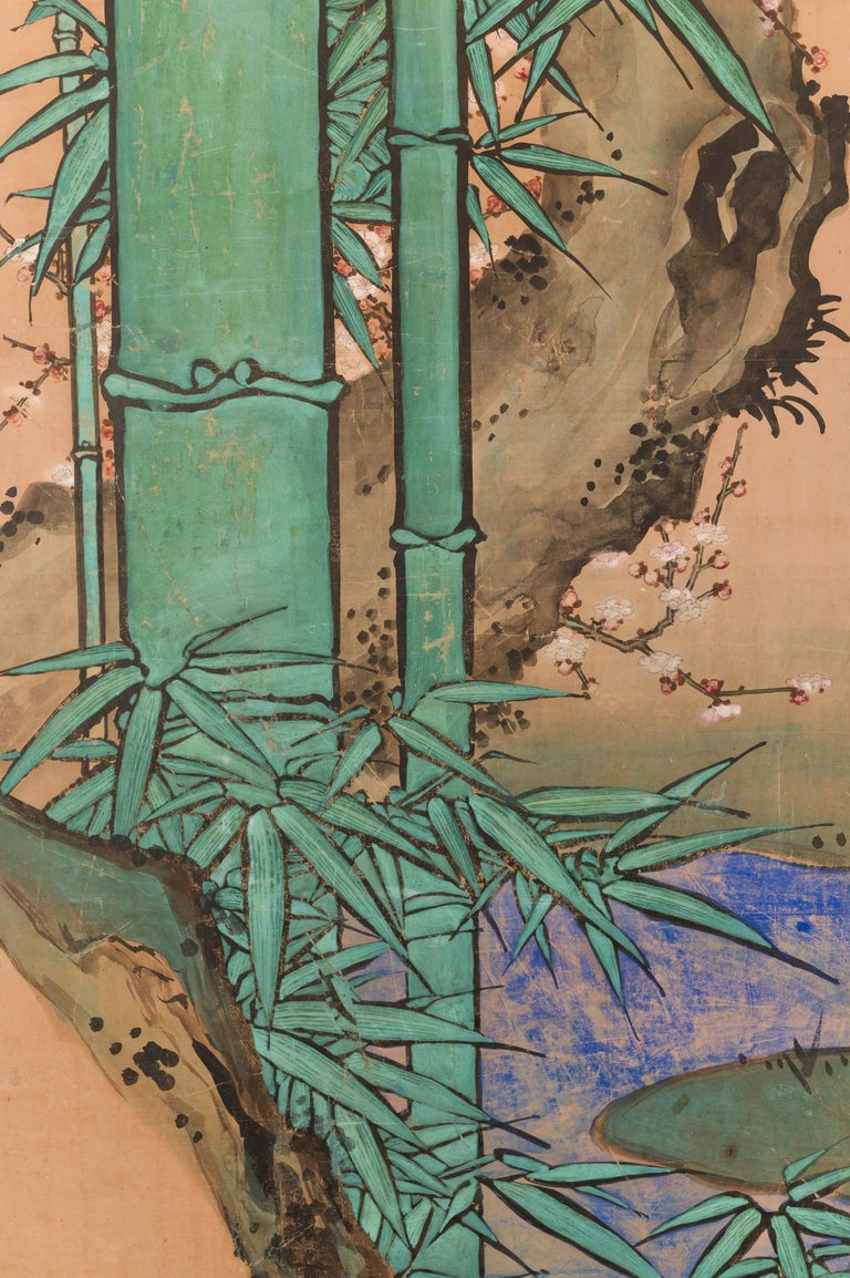Japanese Two Panel Screen Amorous Cranes and Turtles In Good Condition For Sale In Hudson, NY
