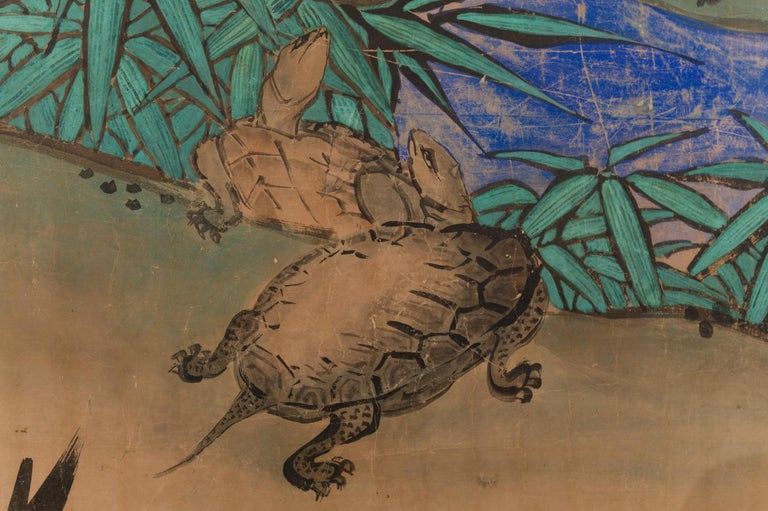 Mid-19th Century Japanese Two Panel Screen Amorous Cranes and Turtles For Sale