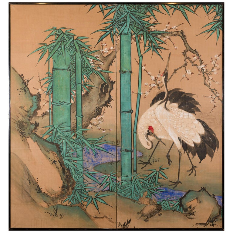 Japanese Two Panel Screen Amorous Cranes and Turtles For Sale