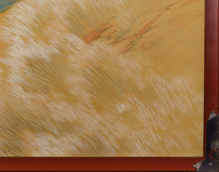 Japanese Two-Panel Screen, Autumn Colored Canyon in the Mist For Sale 4