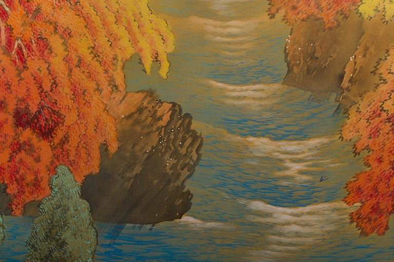 Showa Japanese Two-Panel Screen, Autumn Colored Canyon in the Mist For Sale