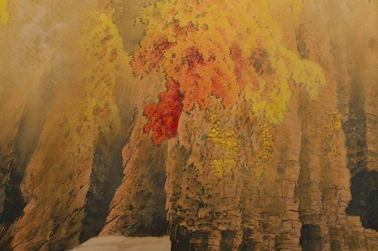 Mid-20th Century Japanese Two-Panel Screen, Autumn Colored Canyon in the Mist For Sale