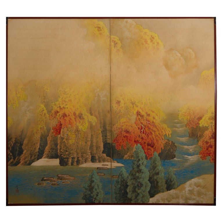 Japanese Two-Panel Screen, Autumn Colored Canyon in the Mist For Sale