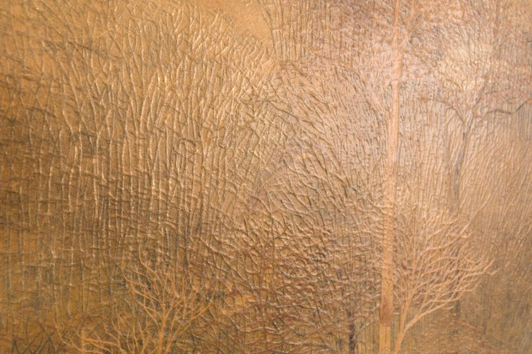 Japanese Two-Panel Screen, Autumn Forest, Rare Obara Paper Art Screen For Sale 6