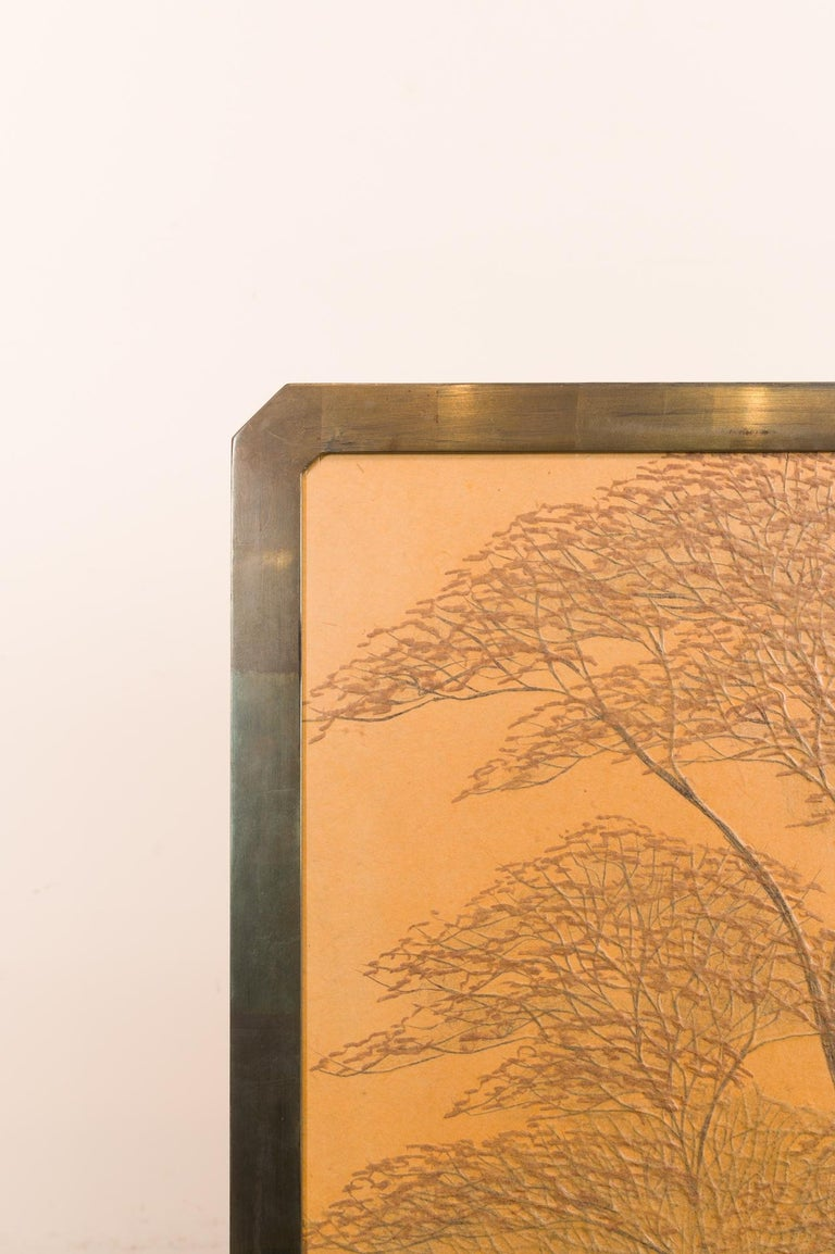 Japanese Two-Panel Screen, Autumn Forest, Rare Obara Paper Art Screen For Sale 8