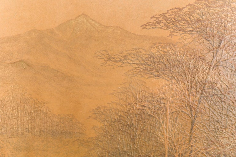 Hand-Crafted Japanese Two-Panel Screen, Autumn Forest, Rare Obara Paper Art Screen For Sale