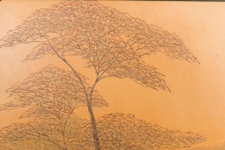 Mid-20th Century Japanese Two-Panel Screen, Autumn Forest, Rare Obara Paper Art Screen For Sale