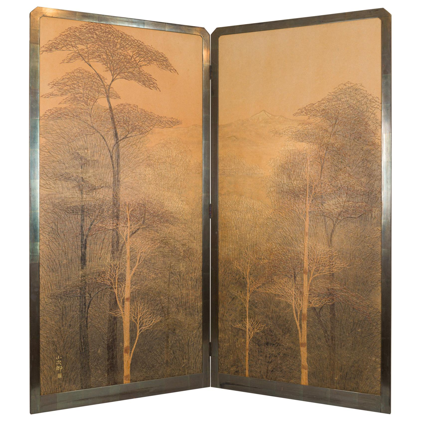 Japanese Two-Panel Screen, Autumn Forest, Rare Obara Paper Art Screen