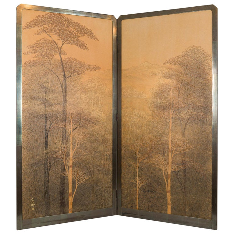 Japanese Two-Panel Screen, Autumn Forest, Rare Obara Paper Art Screen For Sale