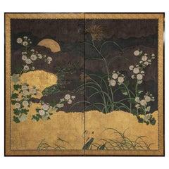 Japanese Two Panel Screen, Autumn Garden Scene Under Moon
