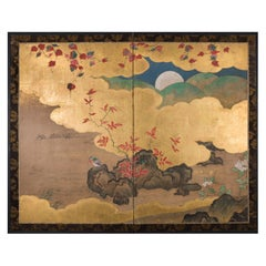 Japanese Two-Panel Screen Autumn into Winter