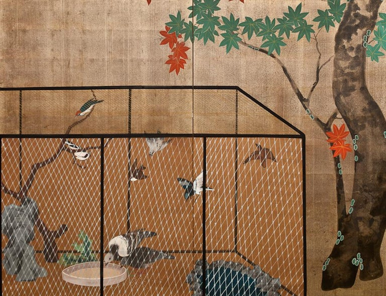 Showa Japanese Two Panel Screen Aviary Shaded by A Maple Tree For Sale