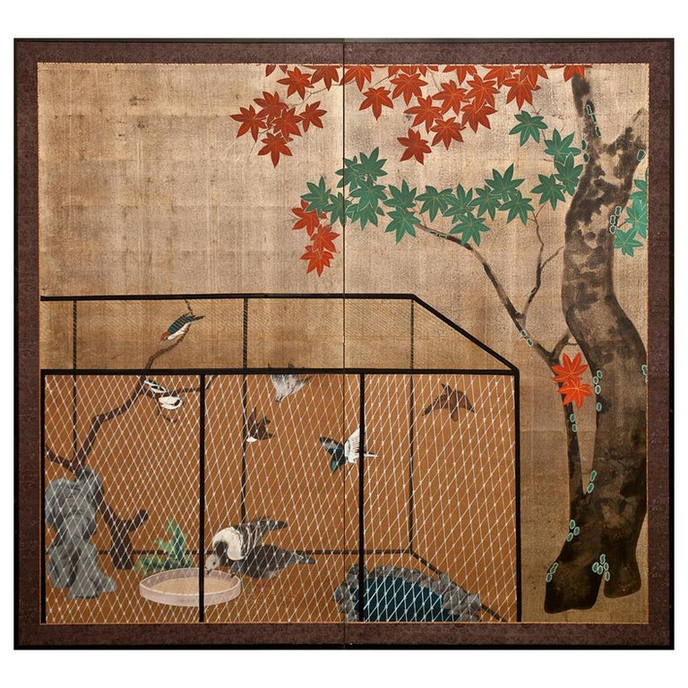 Japanese Two Panel Screen Aviary Shaded by A Maple Tree For Sale