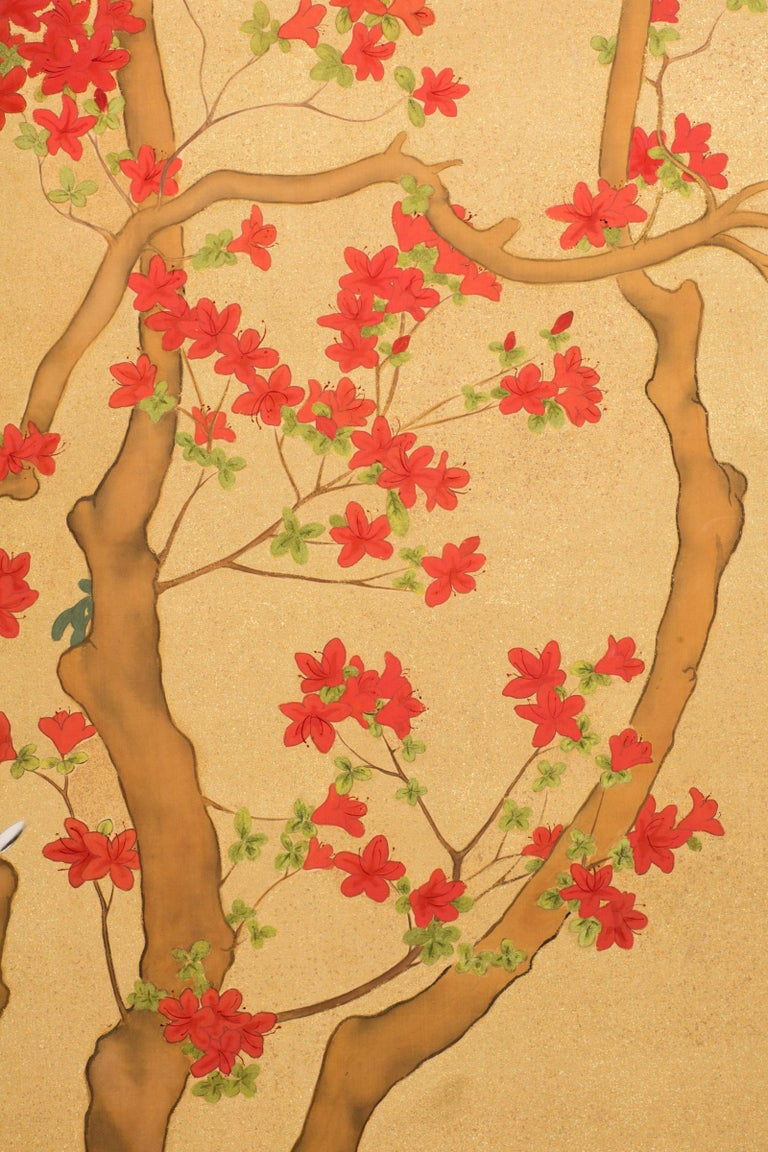 20th Century Japanese Two-Panel Screen, Azalea Tree with Birds For Sale