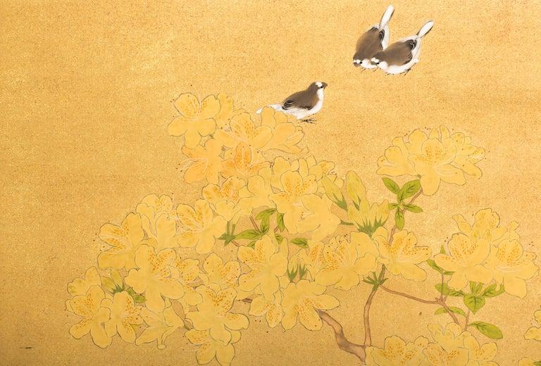 Silk Japanese Two-Panel Screen, Azalea Tree with Birds For Sale
