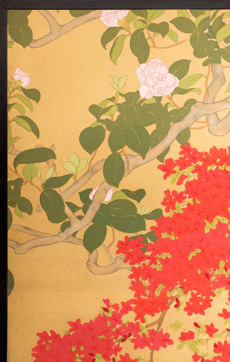 Japanese Two-Panel Screen, Azalea Tree with Birds For Sale 1