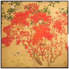 Japanese Two-Panel Screen, Azalea Tree with Birds