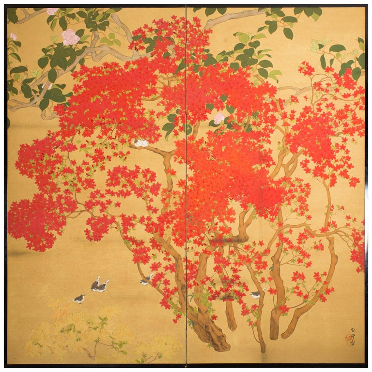 Japanese Two-Panel Screen, Azalea Tree with Birds For Sale