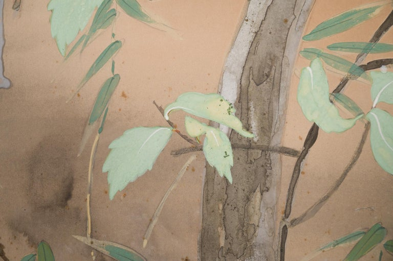 Japanese Two Panel Screen Beautifully Colored, Wooded and Floral Landscape For Sale 5