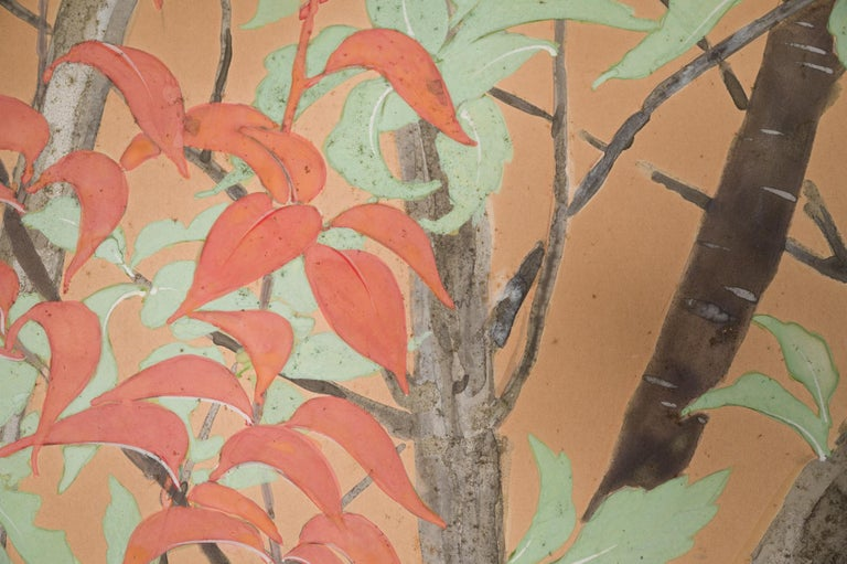 Japanese Two Panel Screen Beautifully Colored, Wooded and Floral Landscape For Sale 8