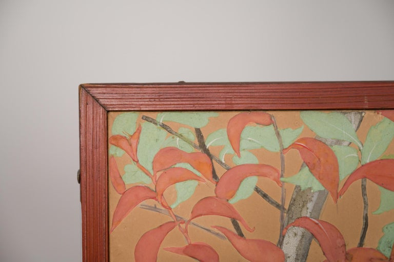 Japanese Two Panel Screen Beautifully Colored, Wooded and Floral Landscape For Sale 10
